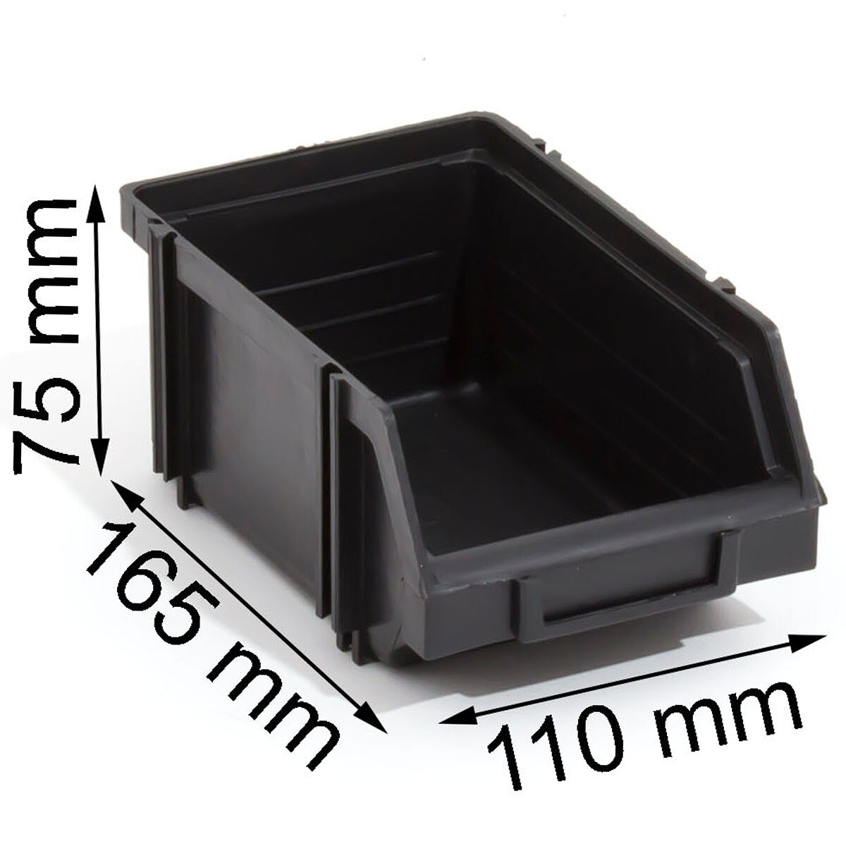 Sichtlagerkasten modular erweiterbar Stapelboxen 1 Liter Schwarz Regalkisten